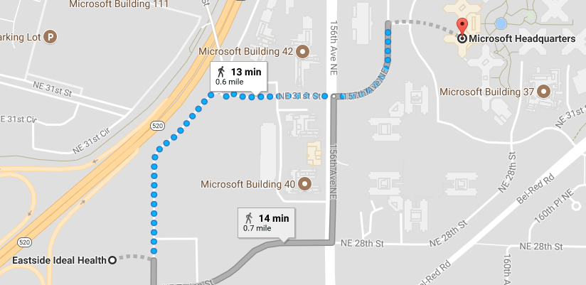 Located across from the Microsoft Redmond campus.
