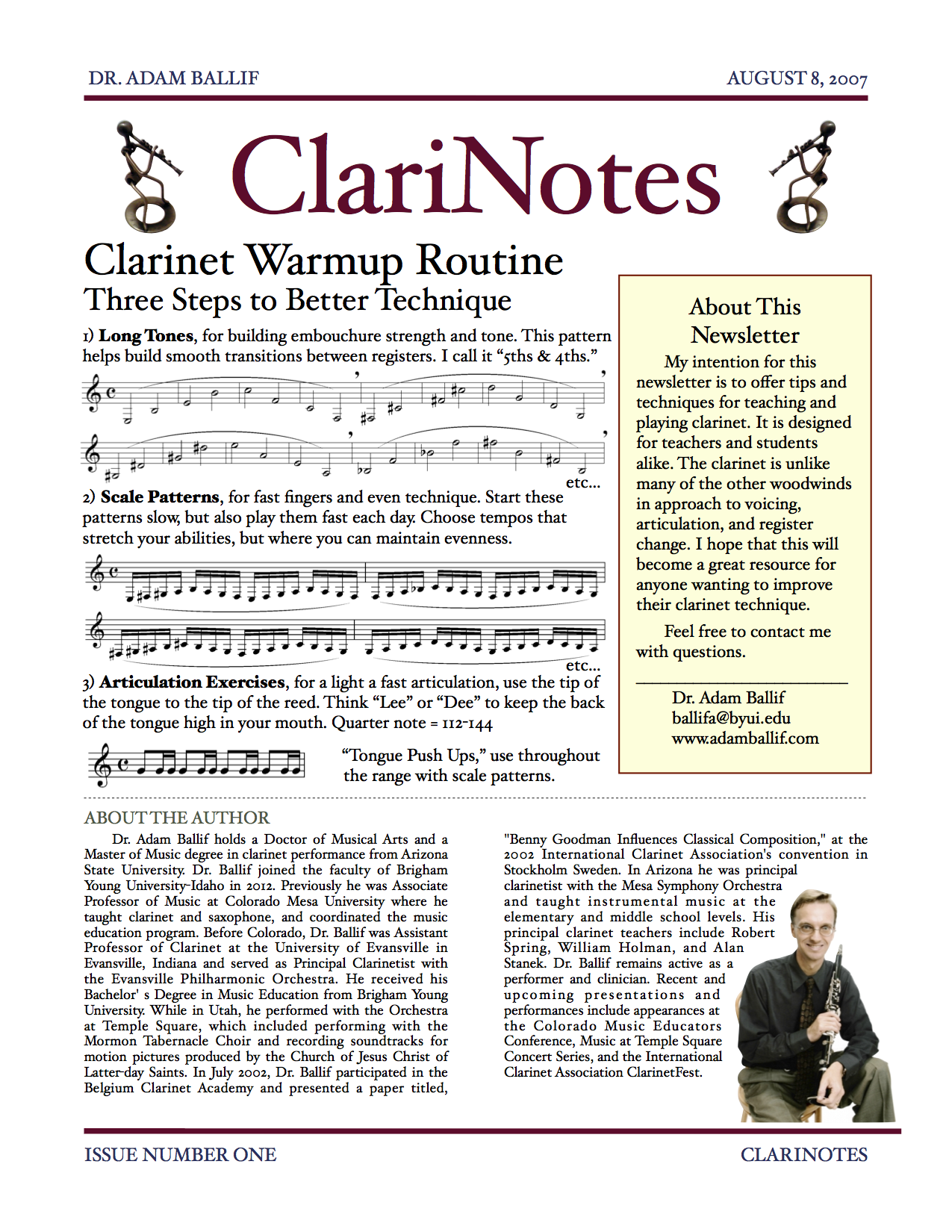 Issue One - Clarinet Warmup