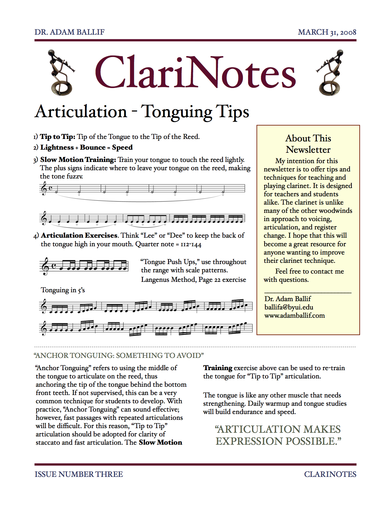 Issue Three - Articulation Tips