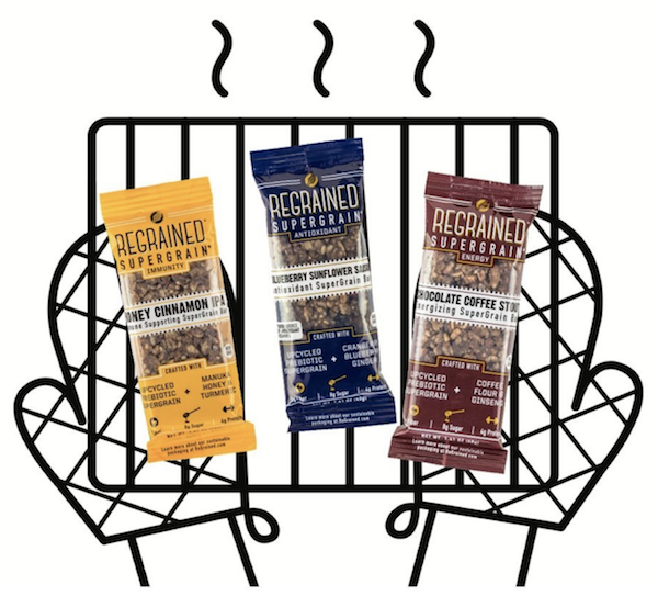 """Eat your beer - ReGrained recovers """"spent"""" grains, the byproducts of the beer brewing process, from craft breweries and turns them into granola bars. ReGrained aims to expand to other grain-based products in the future. Currently, its bars are sold online and in several select stores around the US, as well as in partner breweries."""