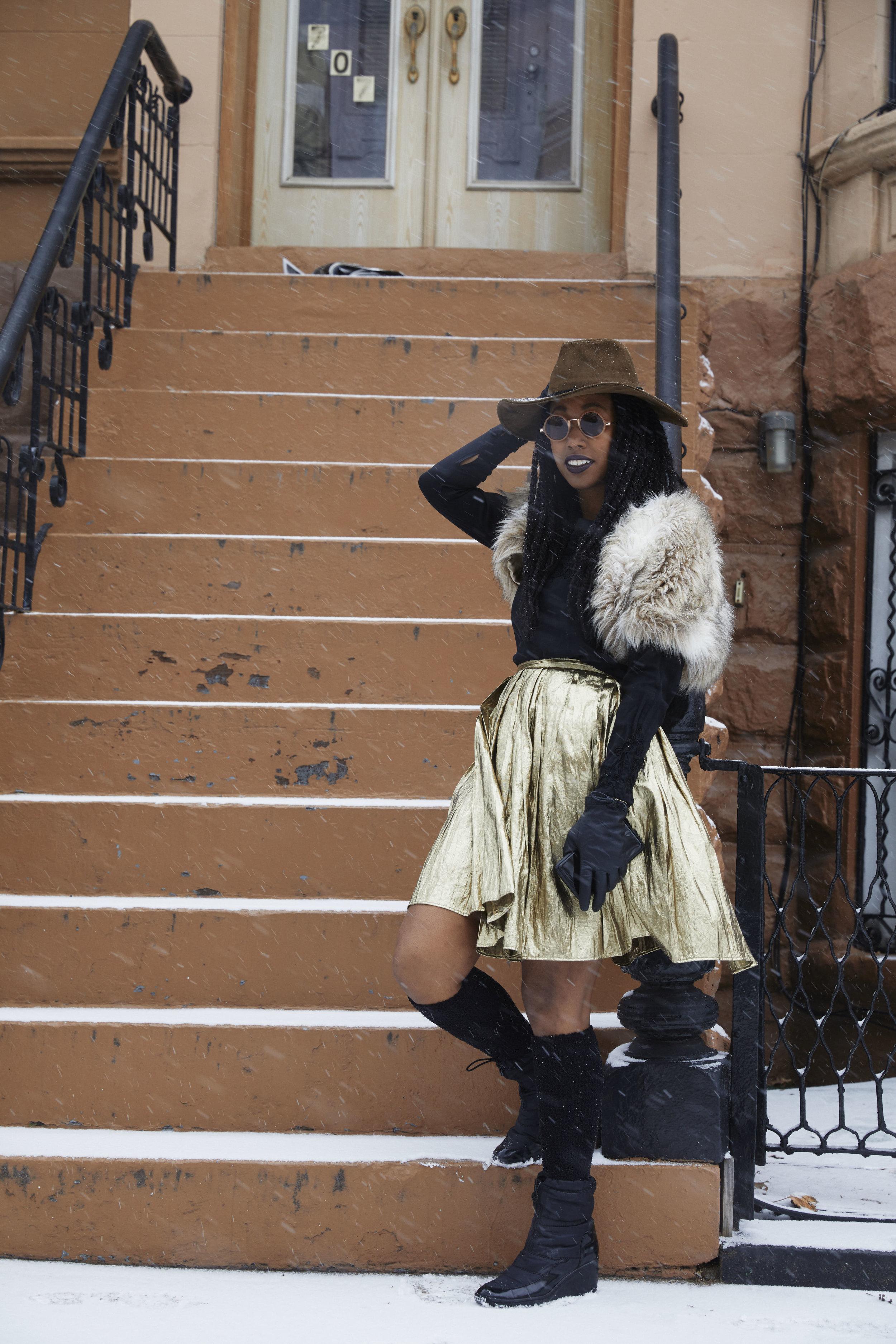 Brooklyn Metallic Winter - Metallic skirt- VintageFaux fur cropped vest - thrifted French ConnectionLong sleeve 100% silk top - Vintage Ann TaylorWide brim hat - Alter BrooklynHeeled Snow boots - Ann Klein