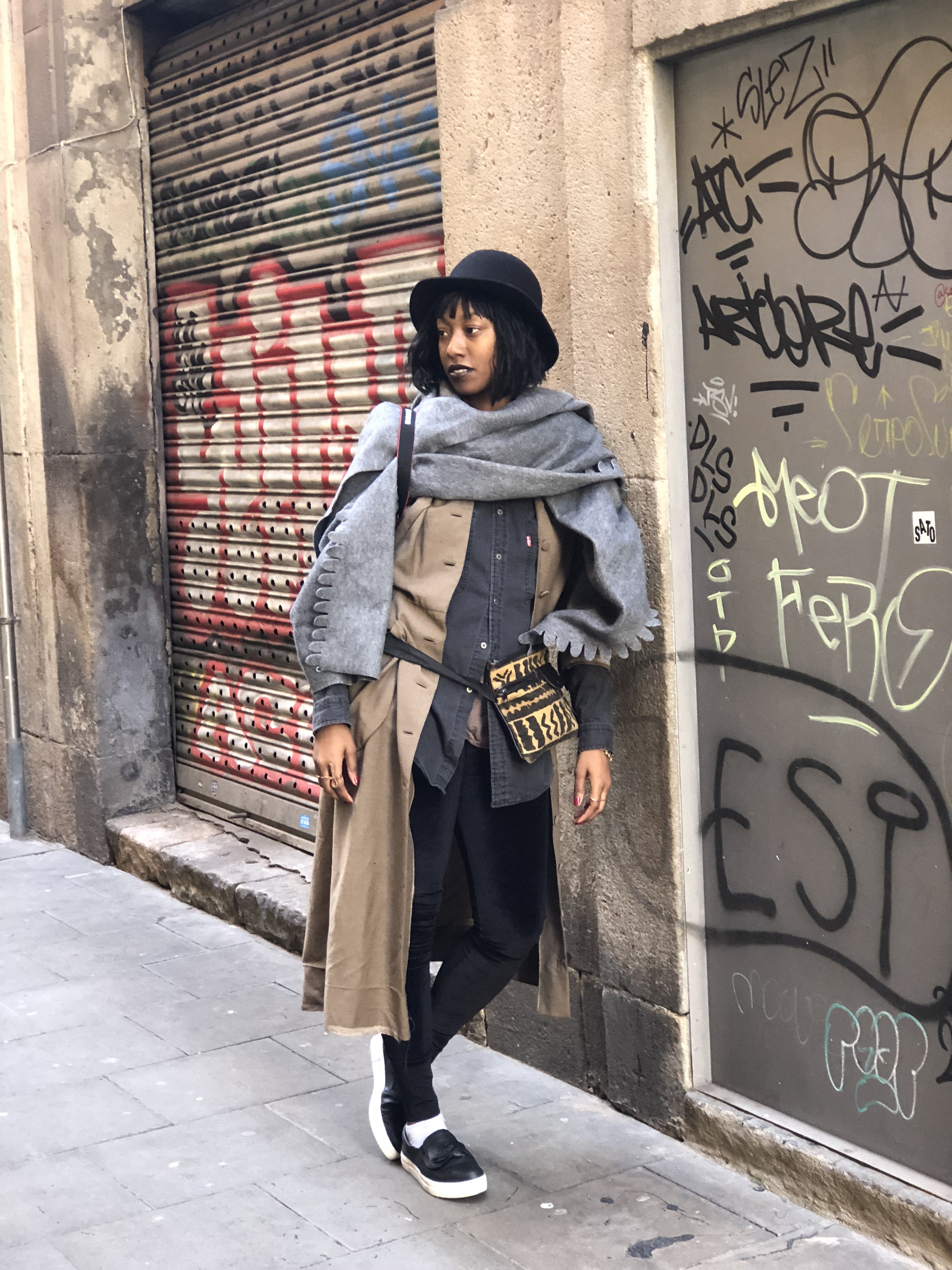 The Streets of Barcelona - Vintage Levi's grey button up- Line & LabelVintage duster jacketVelvet leggings - American ApparelThrifted wool hat - Beacon's ClosetThrifted mudcloth fanny pack