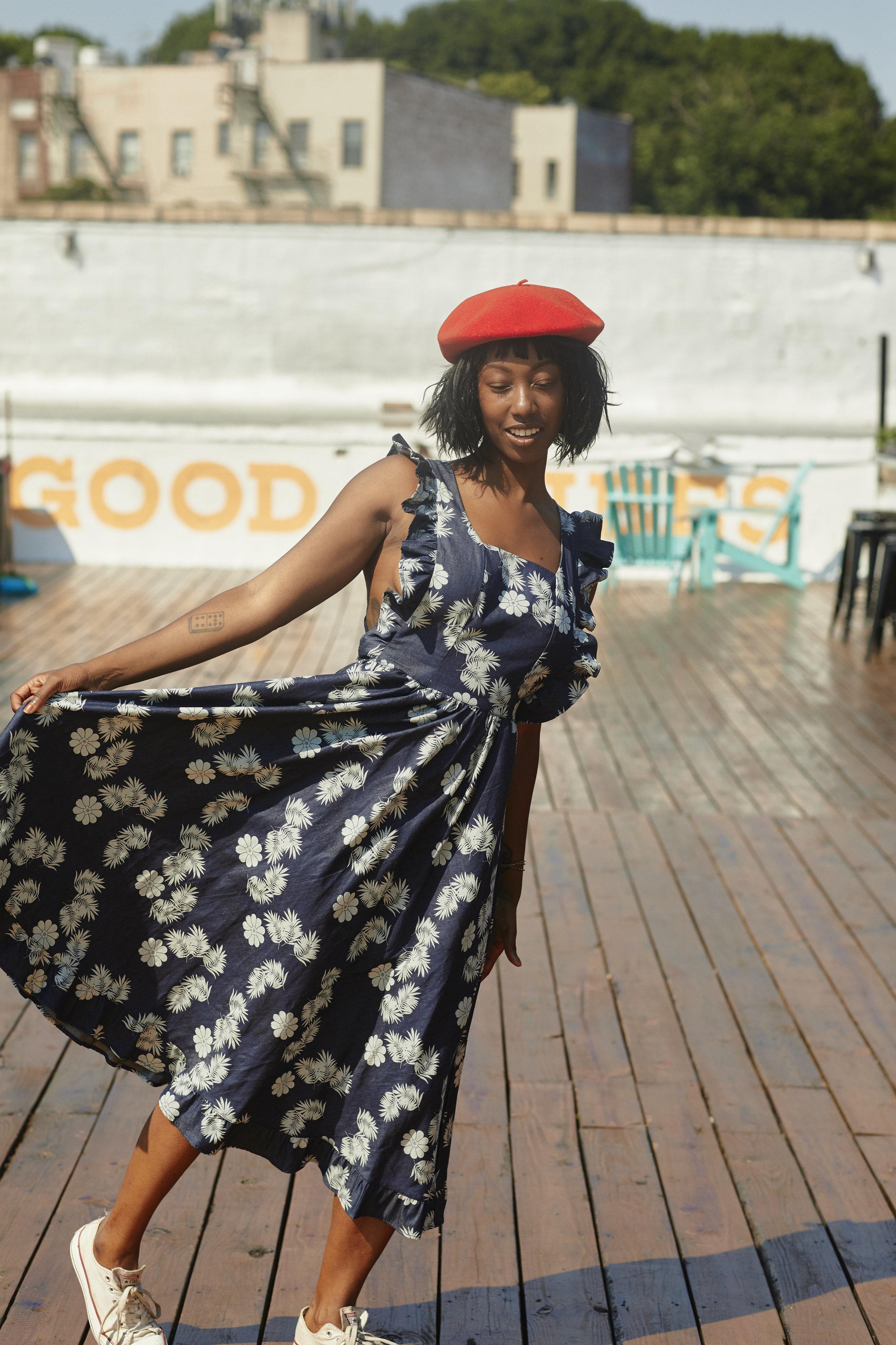 Fun Printed Denim - Denim dress (made from restock fabric) - Mrs. JonesThrifted Beret - Buffalo ExchangeOld Chucks