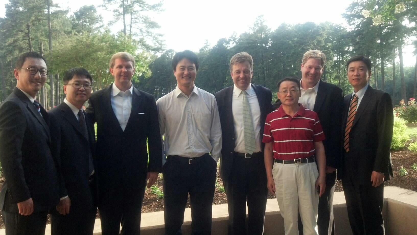Chris Kim JD and KH Lee JD with Chris O'Conner, Director of Duke Heart University at Washington Duke Hotel leadership from Samsung/LG