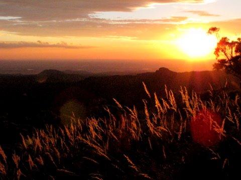 Sun setting on the plains surrounding Mt Kaputar NP