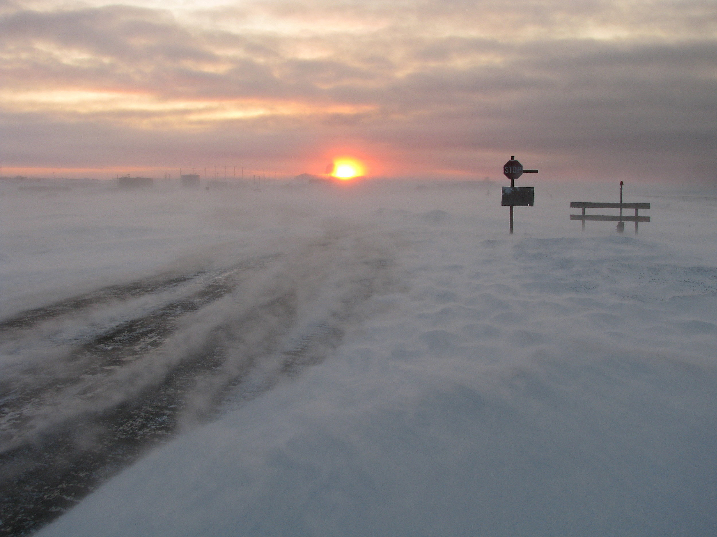 Frequent arctic blizzards--like this one near the coastal village of Kaktovik--can bring rumbling gales, poor visibility, and wind chills to a hundred below zero or colder.