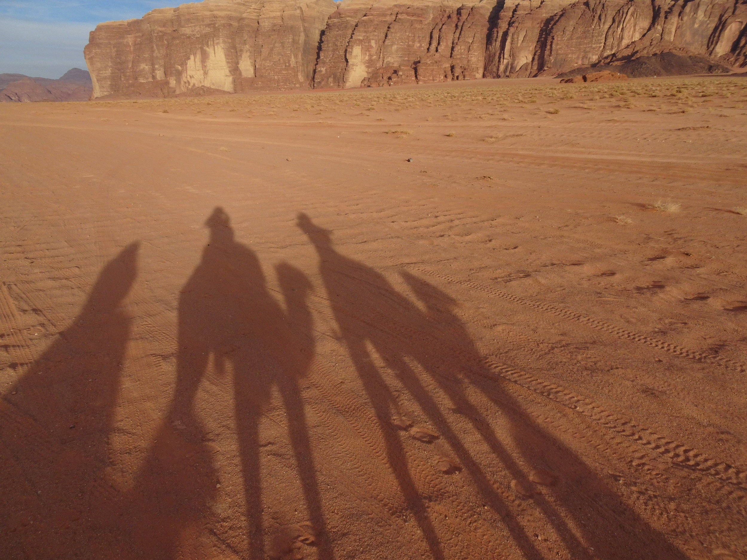 Riding camels in Wadi Rum