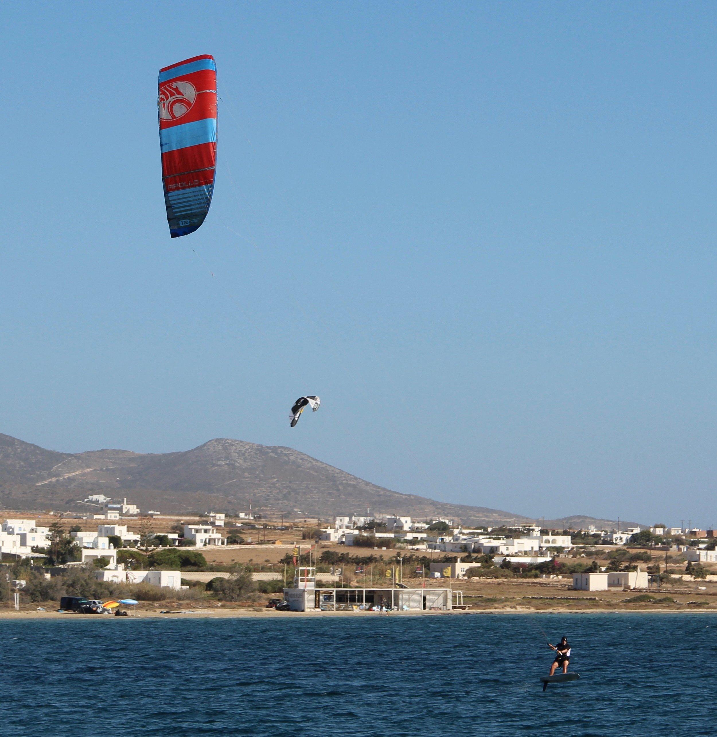 Bret kitesurfing in the channel between Paros and Antiparos