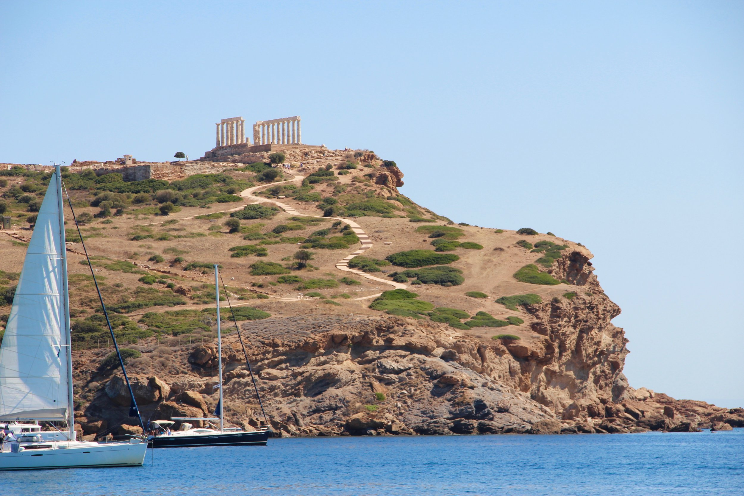 Swimming below the Temple of Poseidon as people have for 2500 years