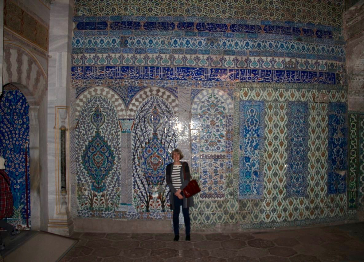 In the Topkapi Palace Harem, stunned by the blue tiles in 300 rooms, thinking we'd have gone crazy with the political intrigue at the heart of the Ottoman empire.