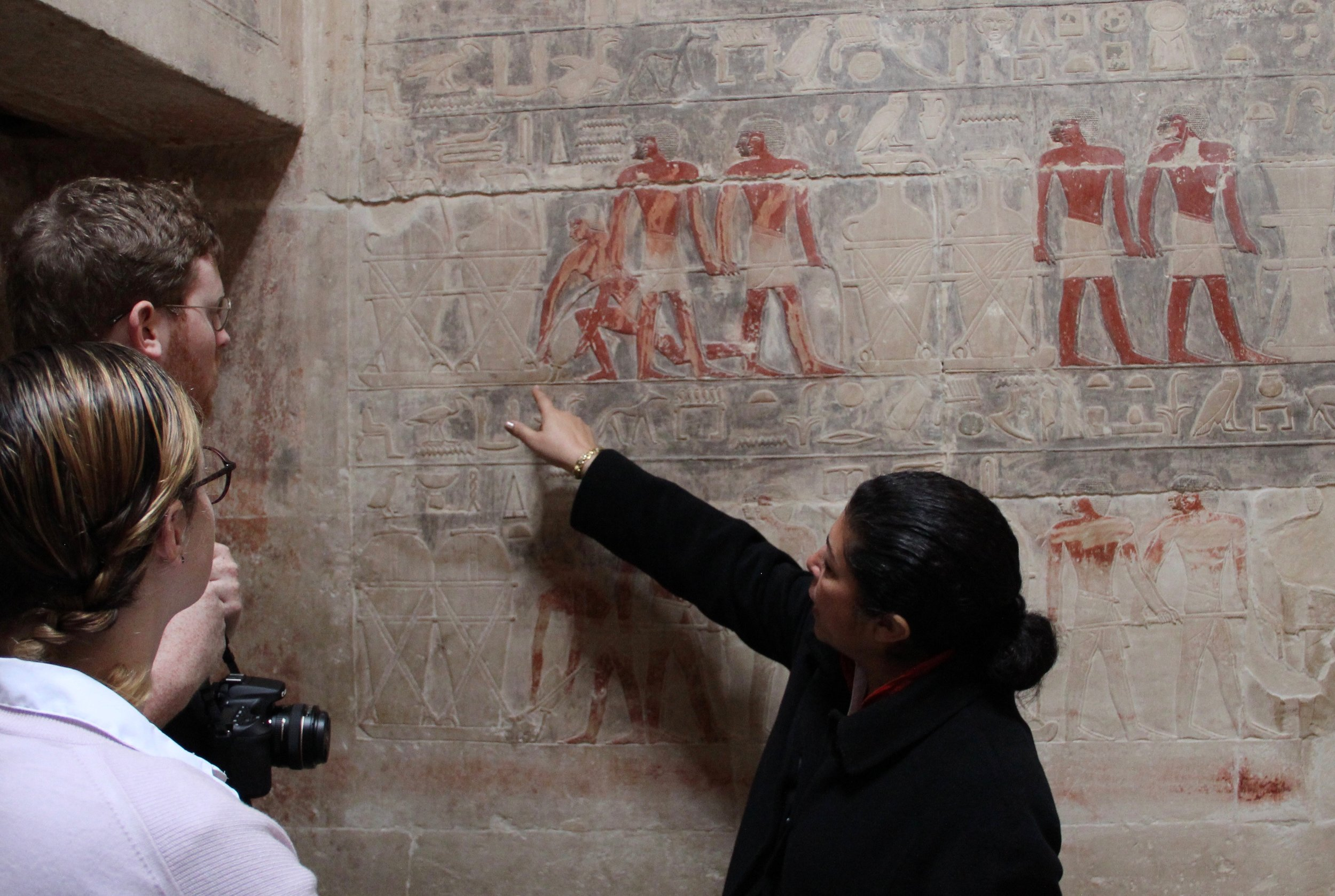 The paintings are so rich and detailed it was essential to have Hala, an egyptologist, explain them to us.