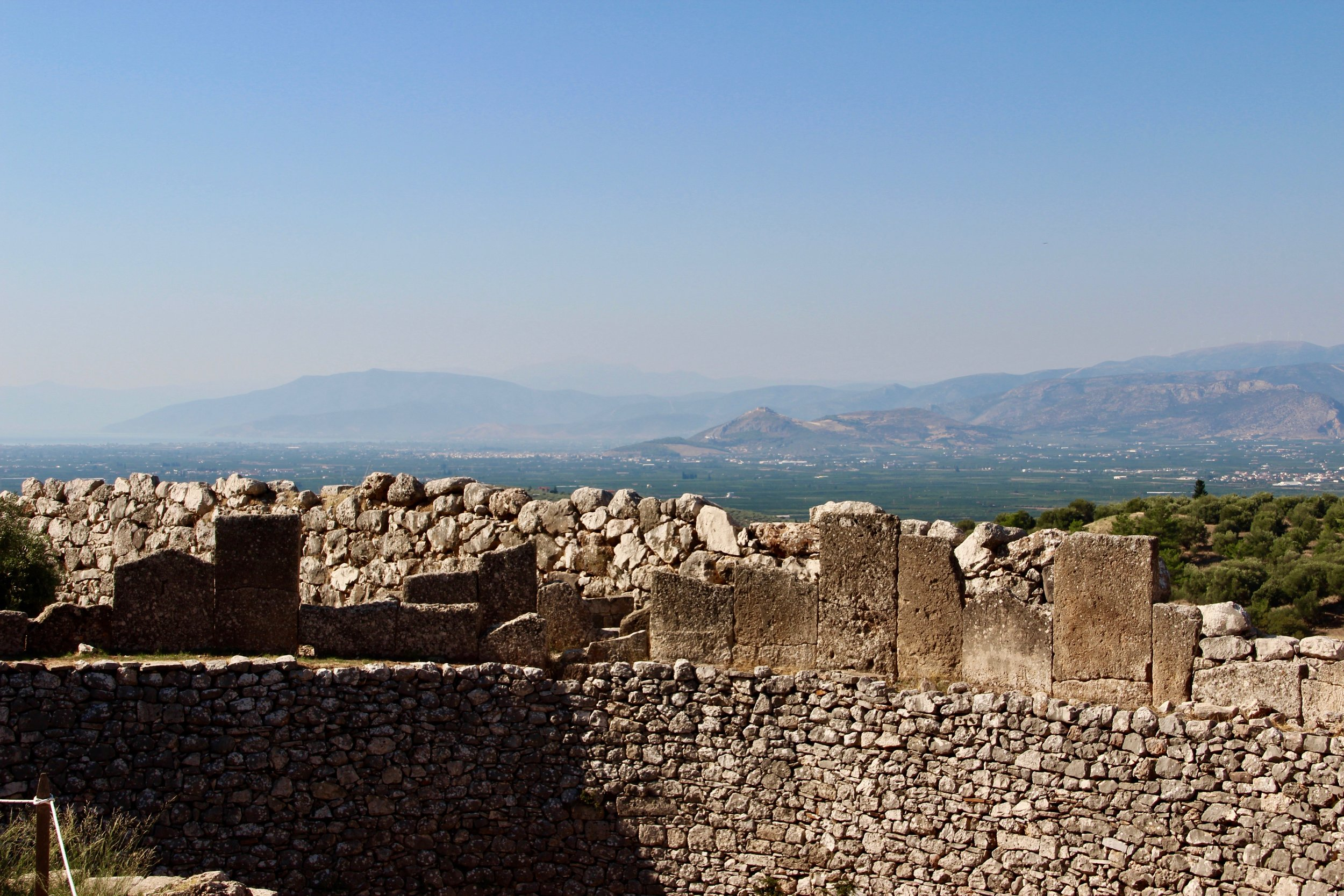The Bay of Nafplia from ancient Mycenae - looking over the side of a 3500 year old tomb