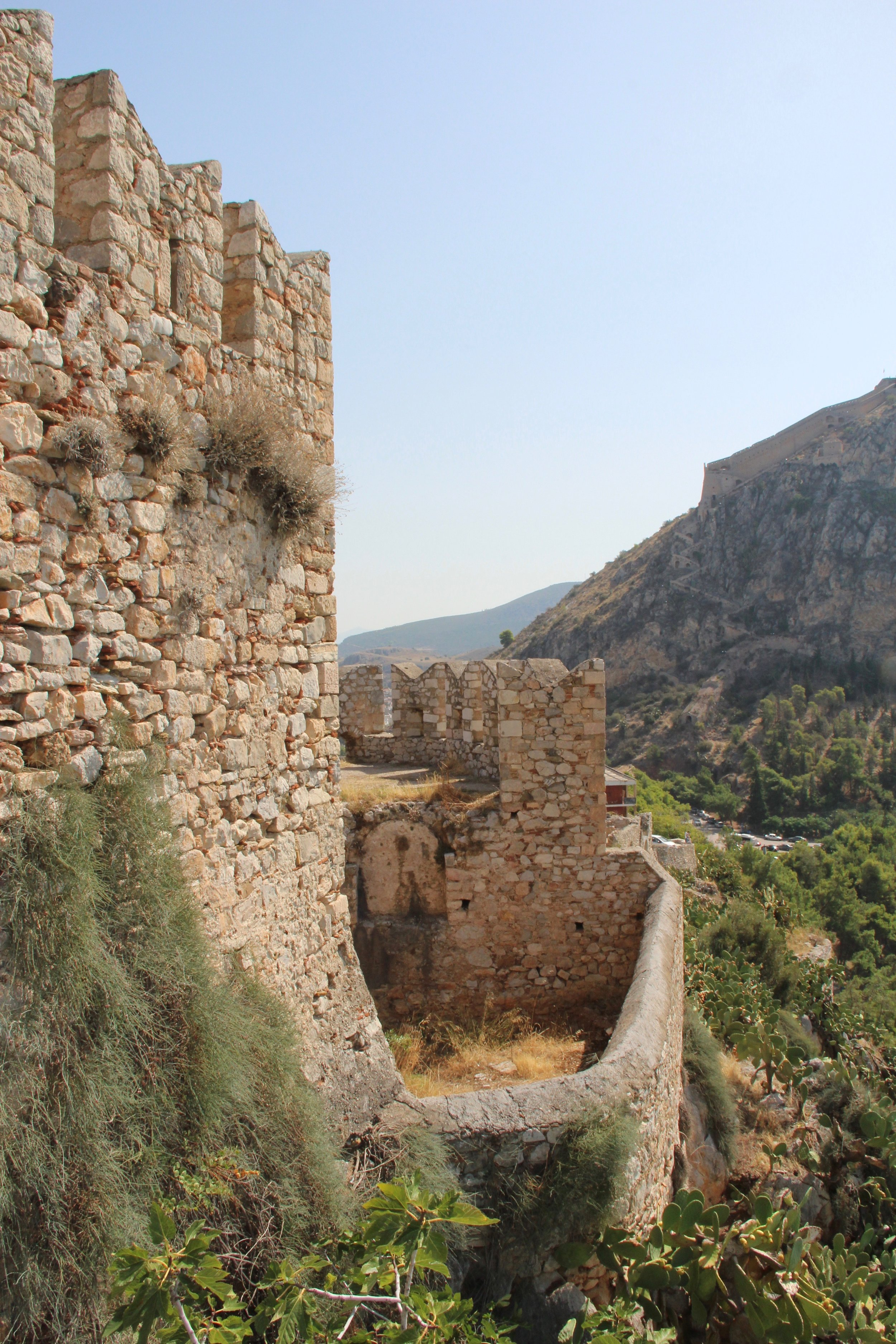 From a Crusader castle, looking up to the lowest part of a Venetian and Ottoman castle