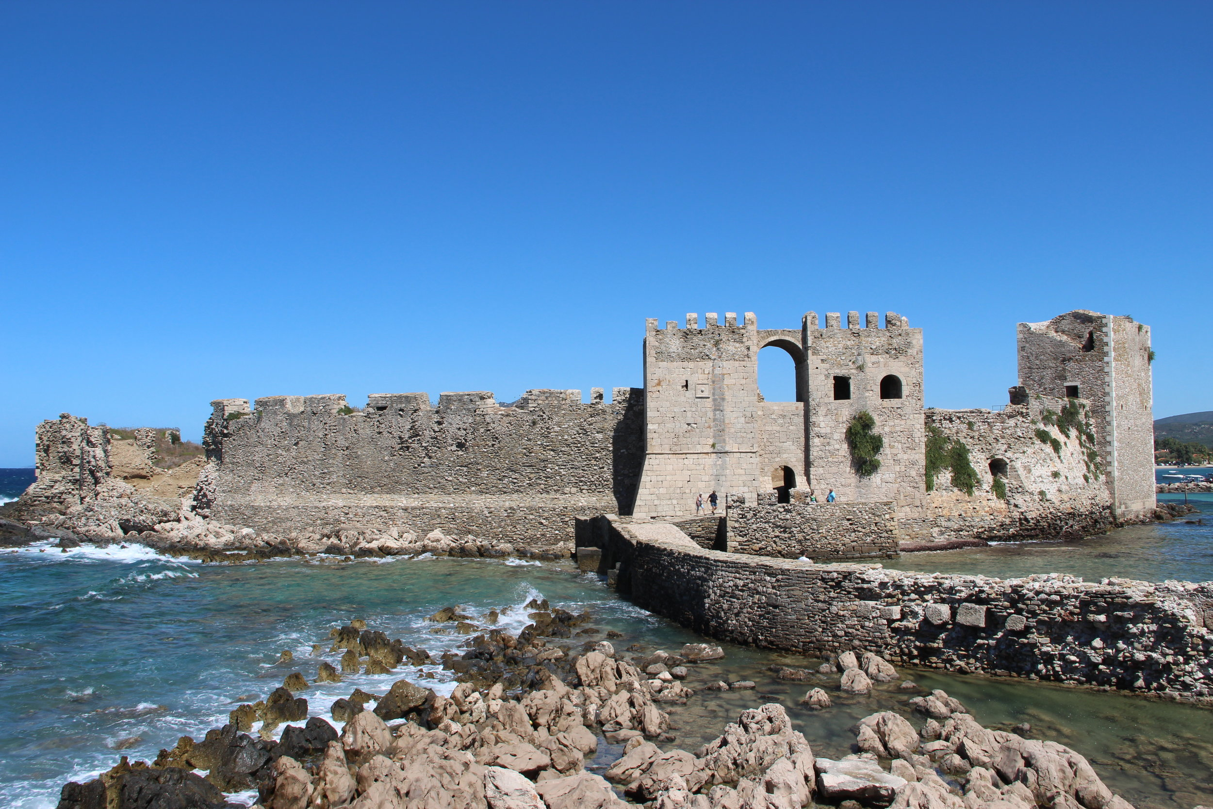 The castle of Methoni out on the promontery