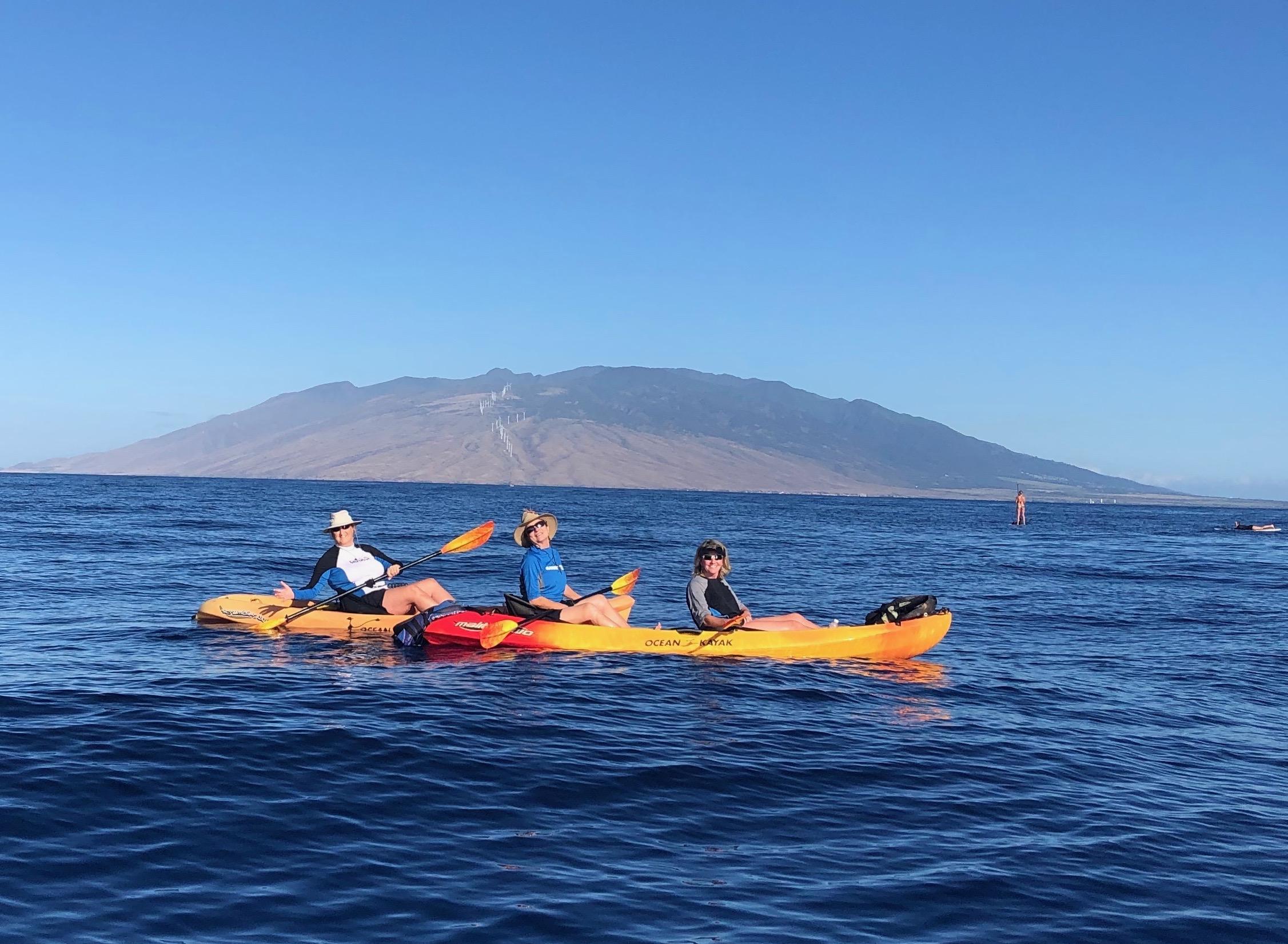 Three amigos on a dawn kayaking trip