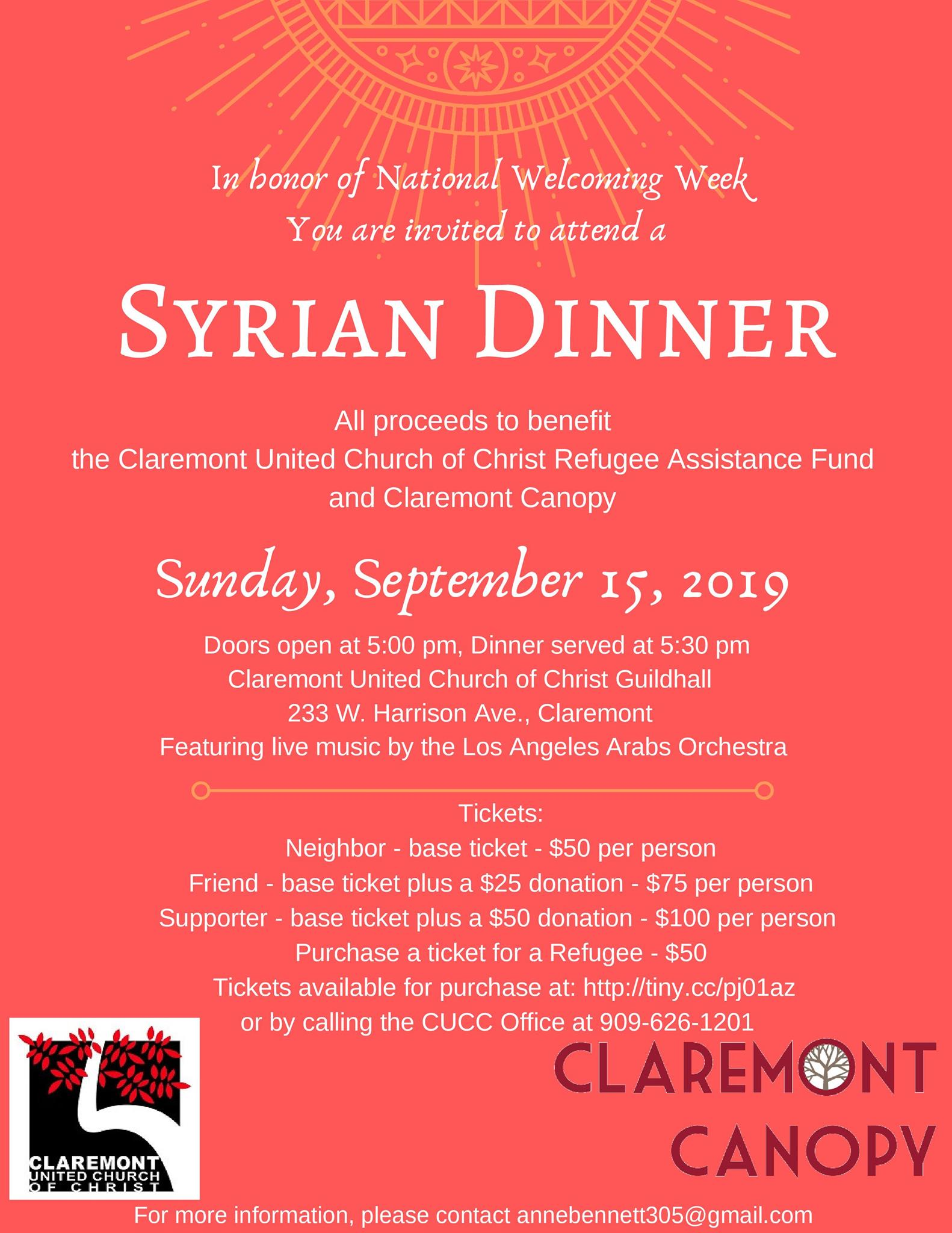 """WELCOMING WEEK 2019! - Our friends at Claremont United Church of Christ are participating in Welcoming America's National """"Welcoming Week."""" A time where communities bring together immigrants and those born within their countries in a spirit of unity to build strong connections across their communities and affirm the benefits of welcoming everyone. Join us September 15, for a homemade Syrian meal and live Arabic music provided by the Los Angeles Arabs Orchestra! Proceeds from ticket sales will go to the CUCC refugee assistance fund and Claremont Canopy."""