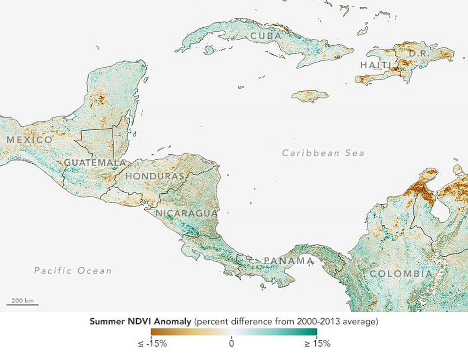 The brown regions in Guatemala, Honduras, and El Salvador indicate lowered crop conditions in those areas.