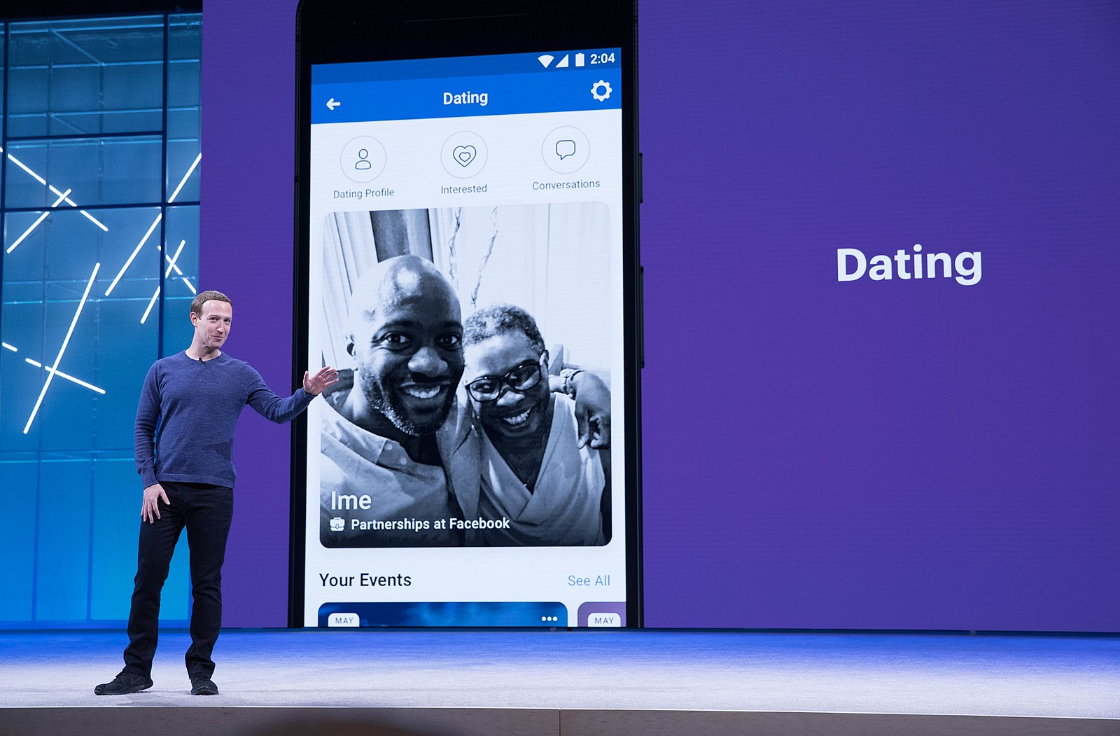 """Mark Zuckerberg introducing """"Dating"""" at the Facebook F8 conference."""