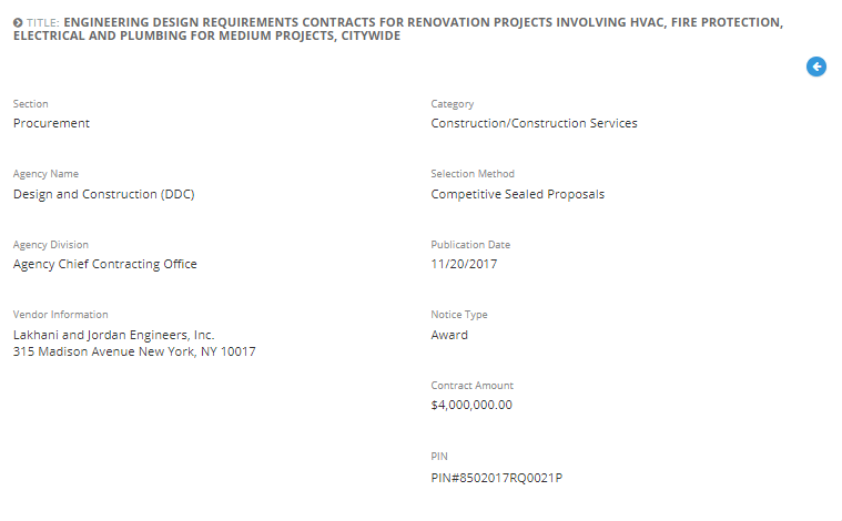 Lakhani & Jordan Engineers, P.C. was awarded with the Engineering Design Requirements Contracts for Renovation Projects Involving HVAC, Fire Protection, Electrical and Plumbing for Medium Projects, Citywide