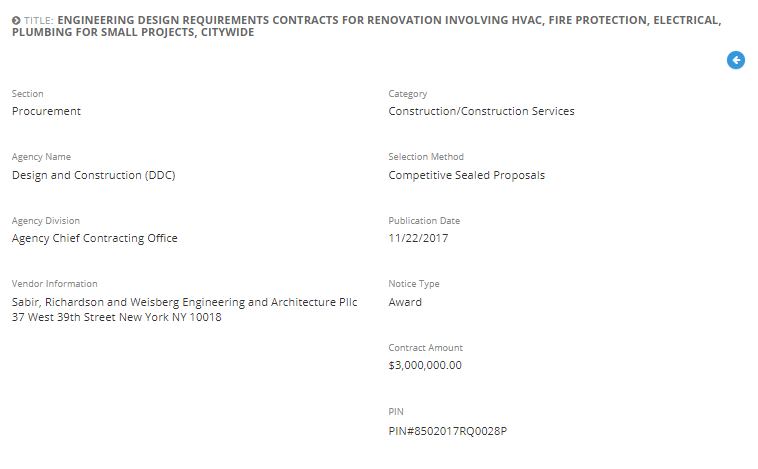 Sabir, Richardson & Weisberg Engineering & Architecture, PLLC was awarded with the Engineering Design Requirements Contracts for Renovation Projects Involving HVAC, Fire Protection, Electrical and Plumbing for Small Projects, Citywide.