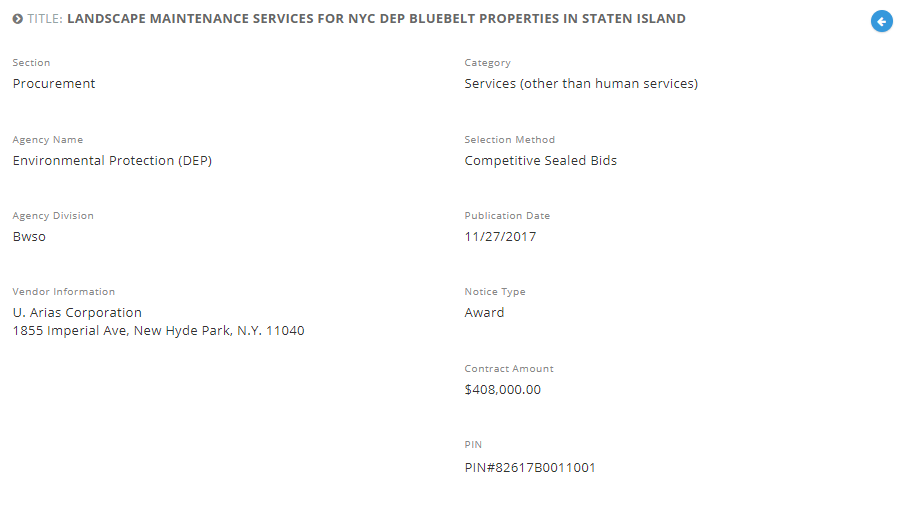 U. Arias Corporation was awarded with the Landscape Maintenance Services for NYC DEP Bluebelt Properties in Staten Island.