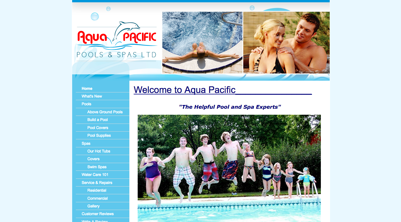 Aqua Pacific Old website