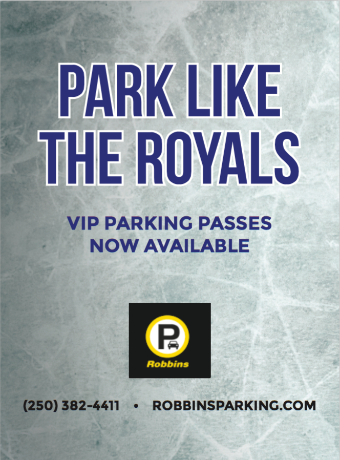 Robbins  VIP Parking ad for Victoria Royals hockey games