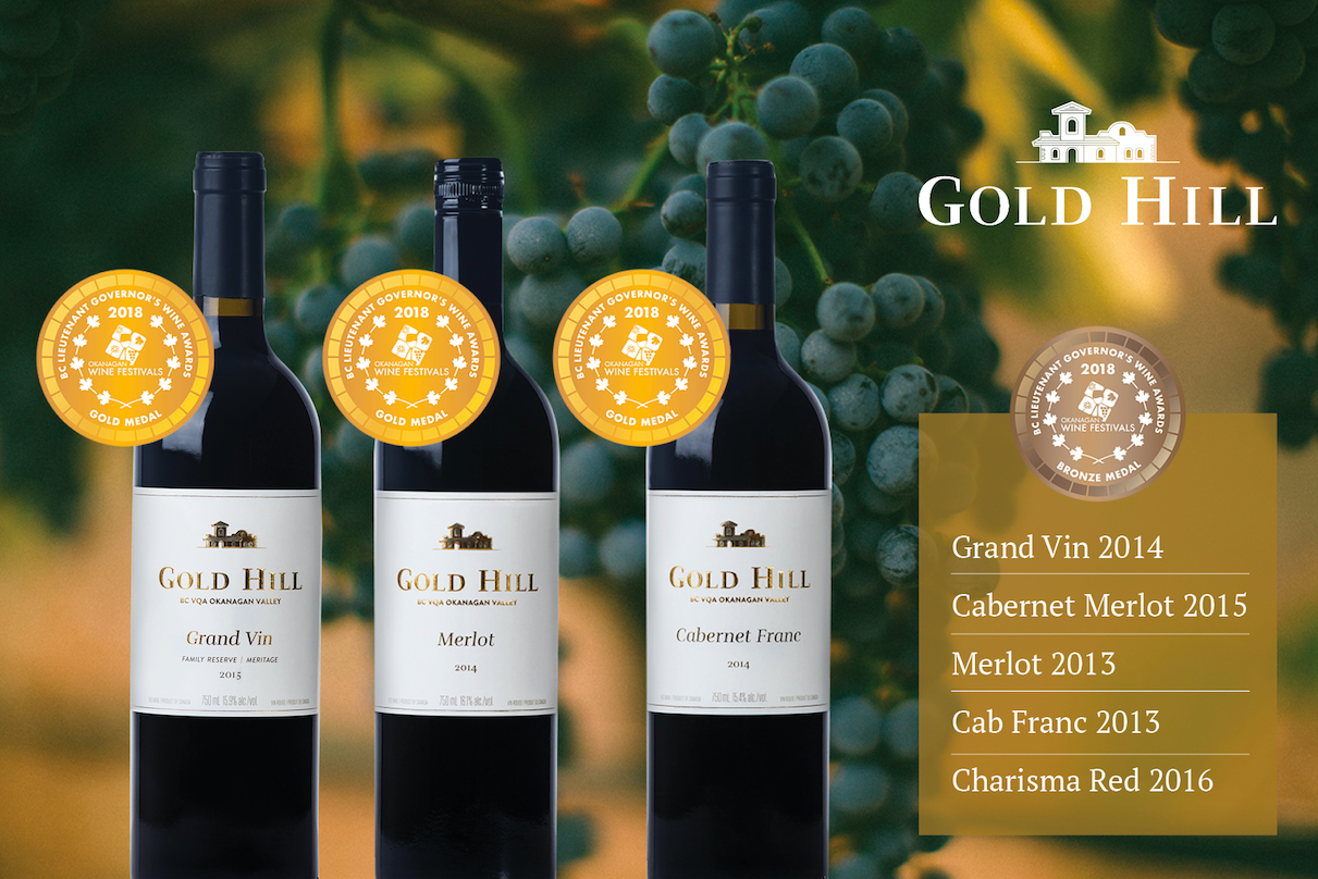 Ad for  Gold Hill Winery , living up to their name throughout the year's wine awards shows.