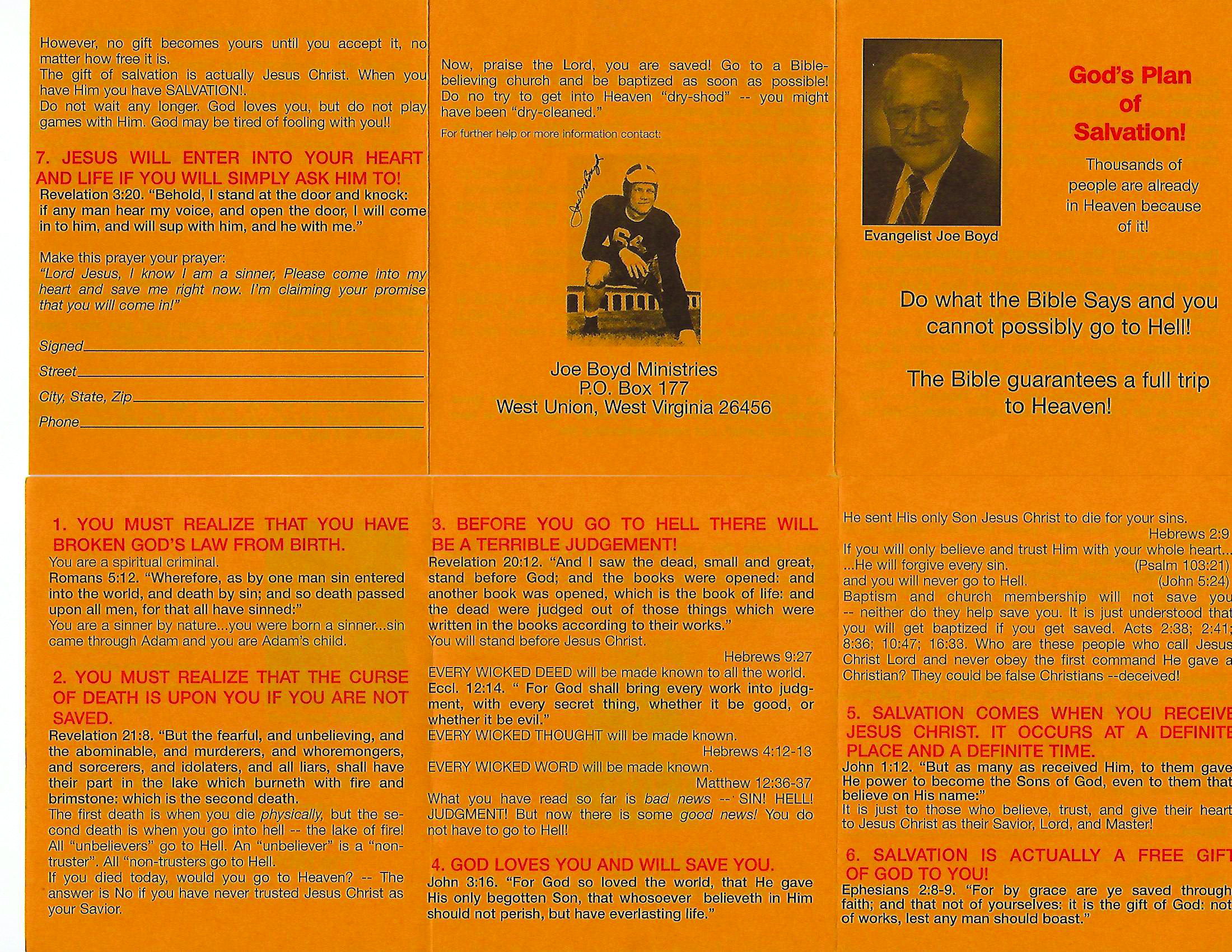 """Dr. Boyd's famous """"Yellow Tract"""" Thousands were saved as a result of this simple tract."""