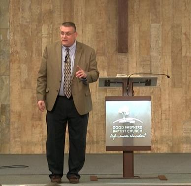 Dr. Brandenburg preaching at Good Shepherd Baptist Church, Brisbane, Australia