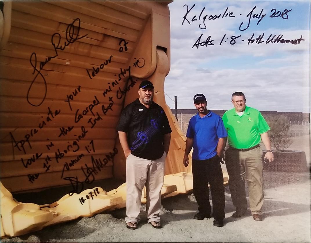 Pastor Dala Momo, Missionary Jason Russell, Dr. Doug Brandenburg at the gold mine in Kalgoorle-Boulder, Western Australia