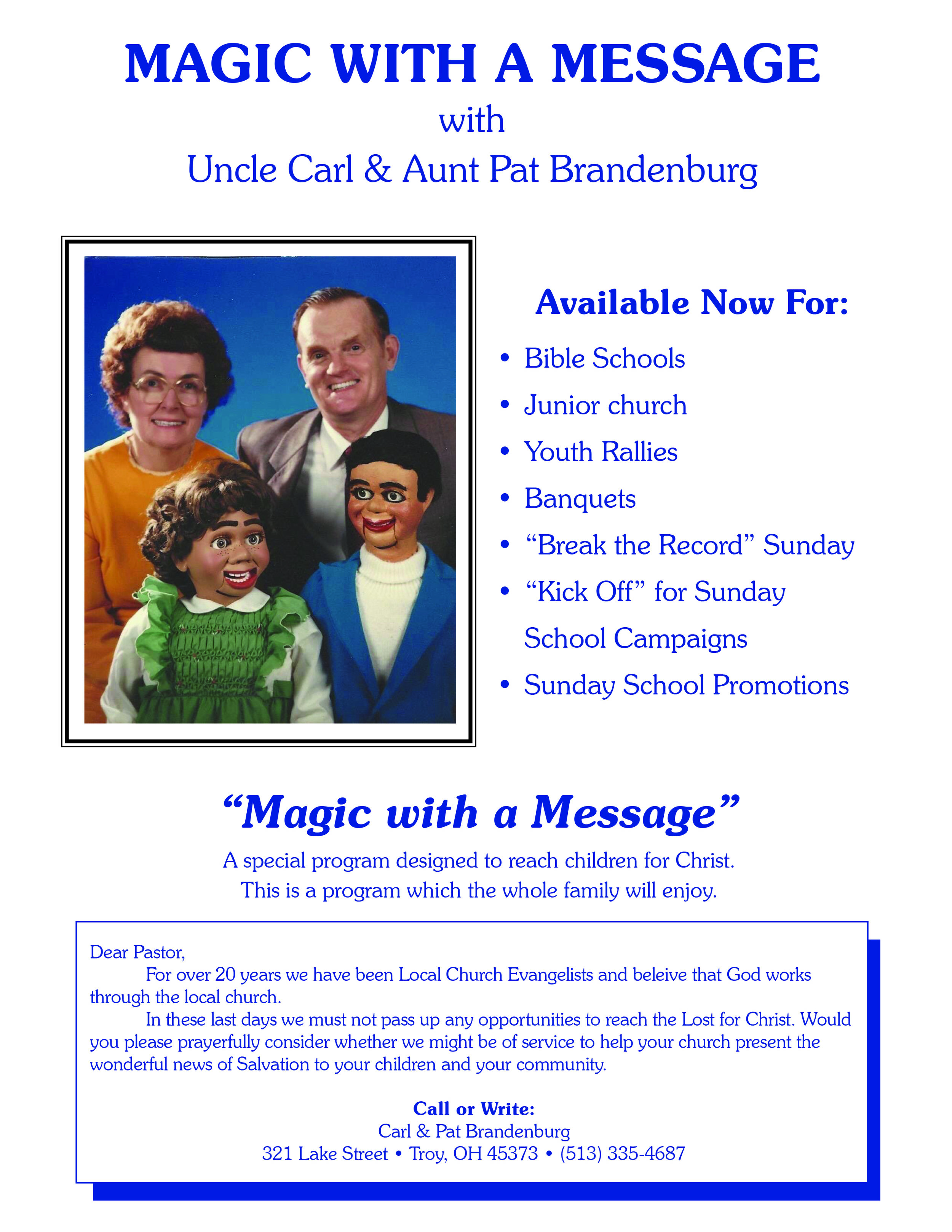 Dad's ministry promotion flyer to pastor's from the 1980's & 1990's.