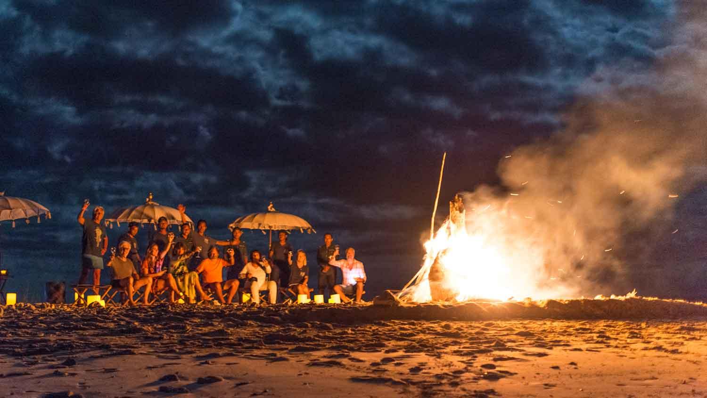 bond fire on private island Indonesia Komodo Ocean Pure