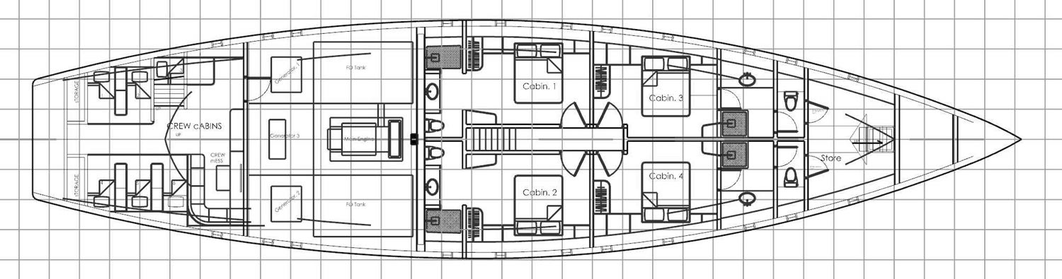 lower deck floor plan cabin cabines Ocean Pure Indonesia