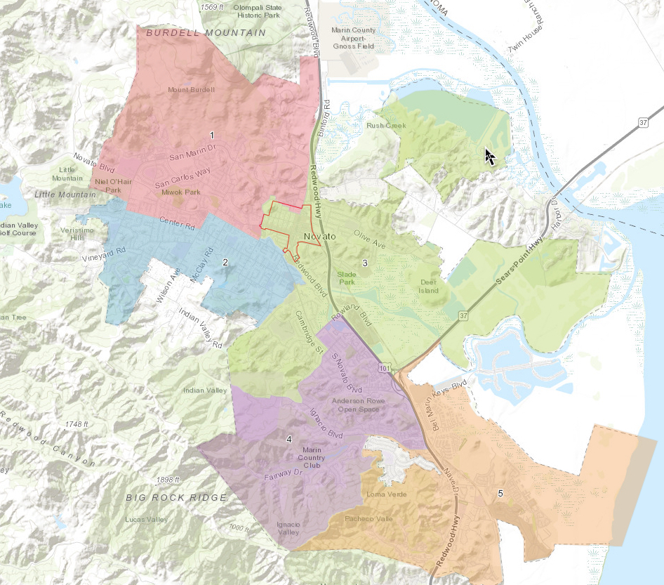 """The district in green is Novato's """"Downtown"""" district."""