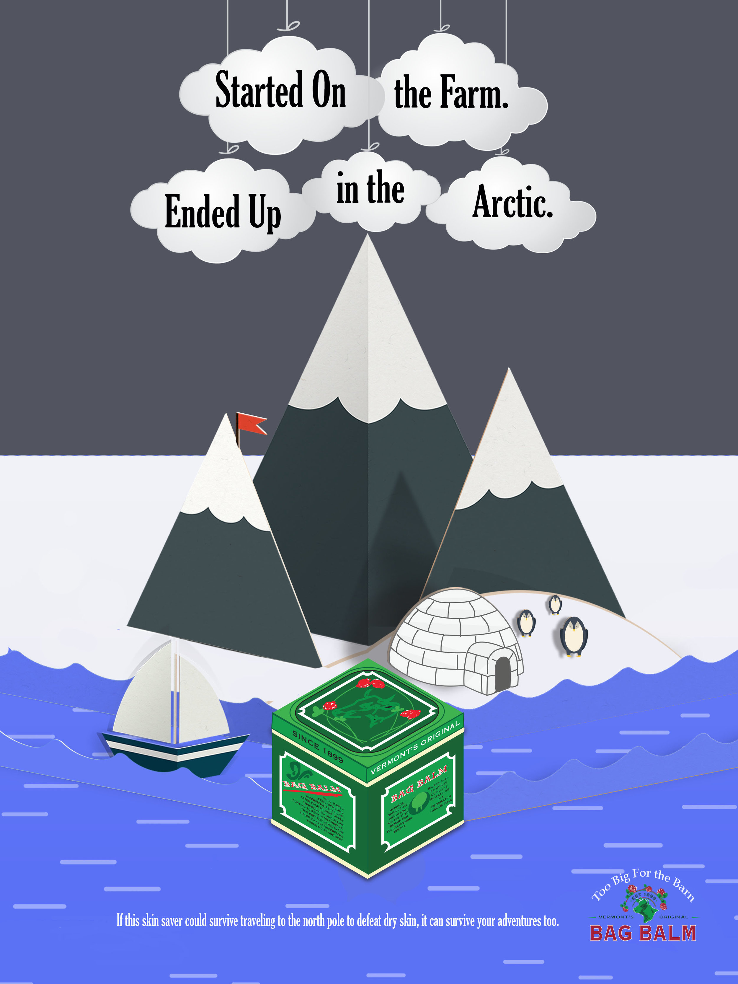 Body Copy: If this skin saver could survive traveling to the North Pole to defeat dry skin, it can survive your adventures too.