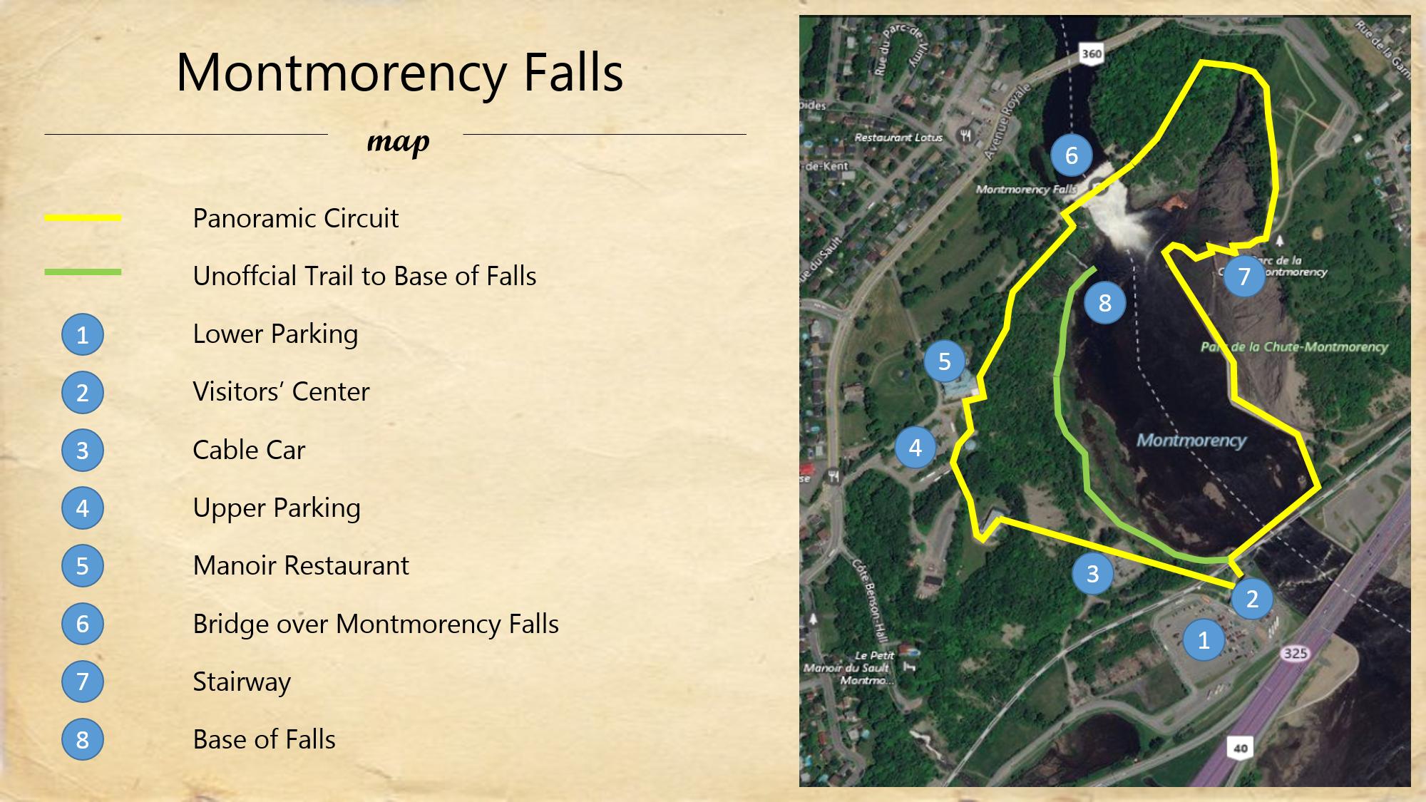 Montmorency Falls Map