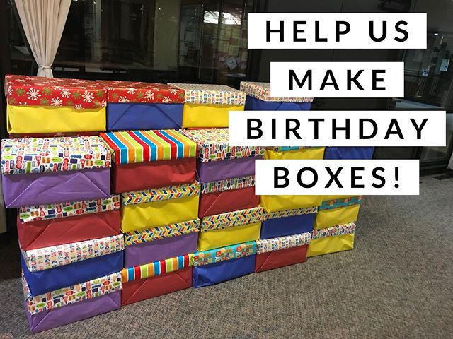 Tomorrow #sundayfunday at 10:00am We have enough donations to put together another round of #BirthdayBoxes! They contain all of the supplies you could ever need to make sure every kiddo has the birthday celebration they deserve.  These boxes will go to Women's Space, ShelterCare, @theeugenemission, Catholic Community Services and other organizations serving homeless families in our community.  The boxes are already wrapped - so we need kiddo, youth and adult helpers to fill them up! More the merrier!  Thank you for your support! #eugene #oregon