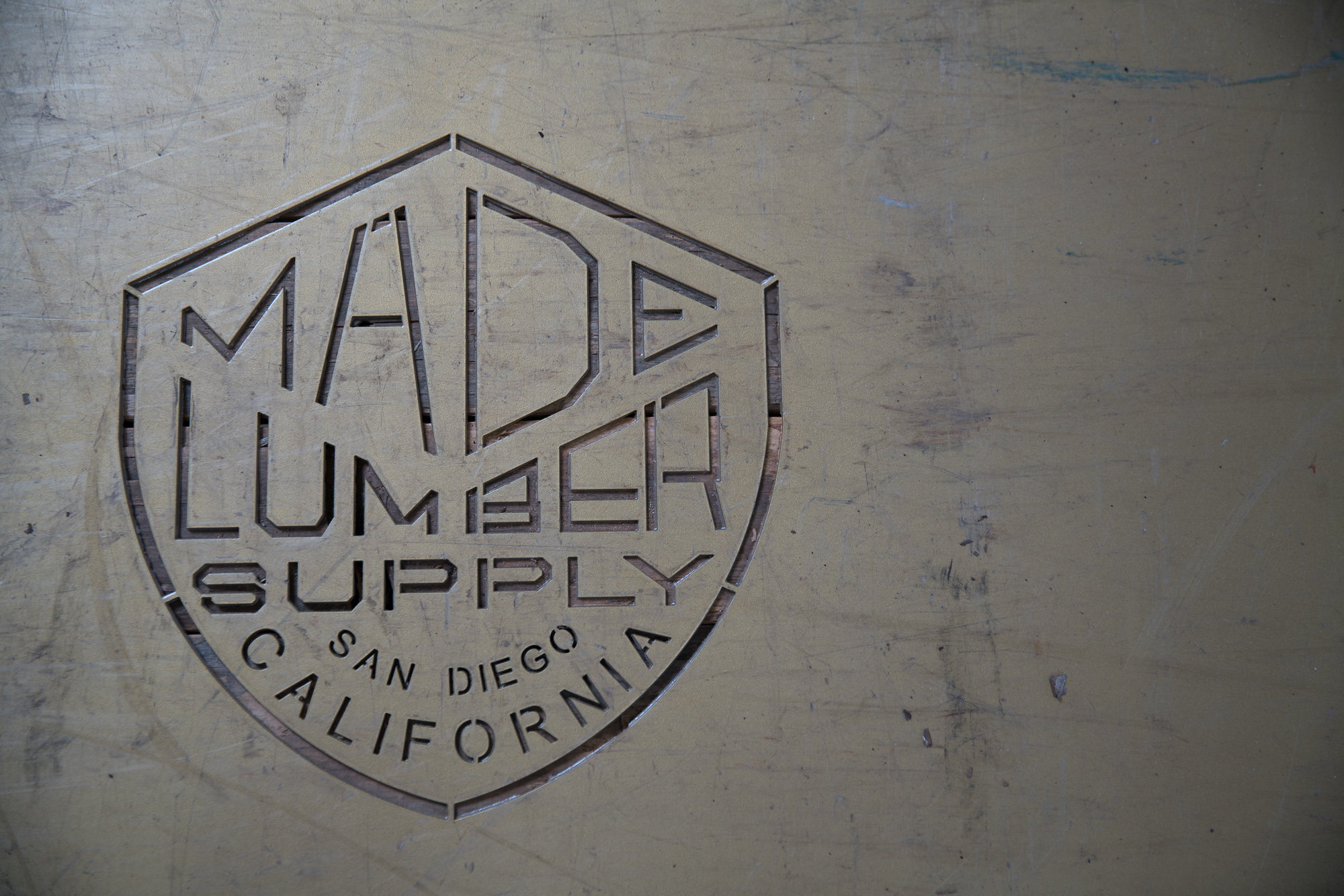 made lumber supply san diego california logo stencil