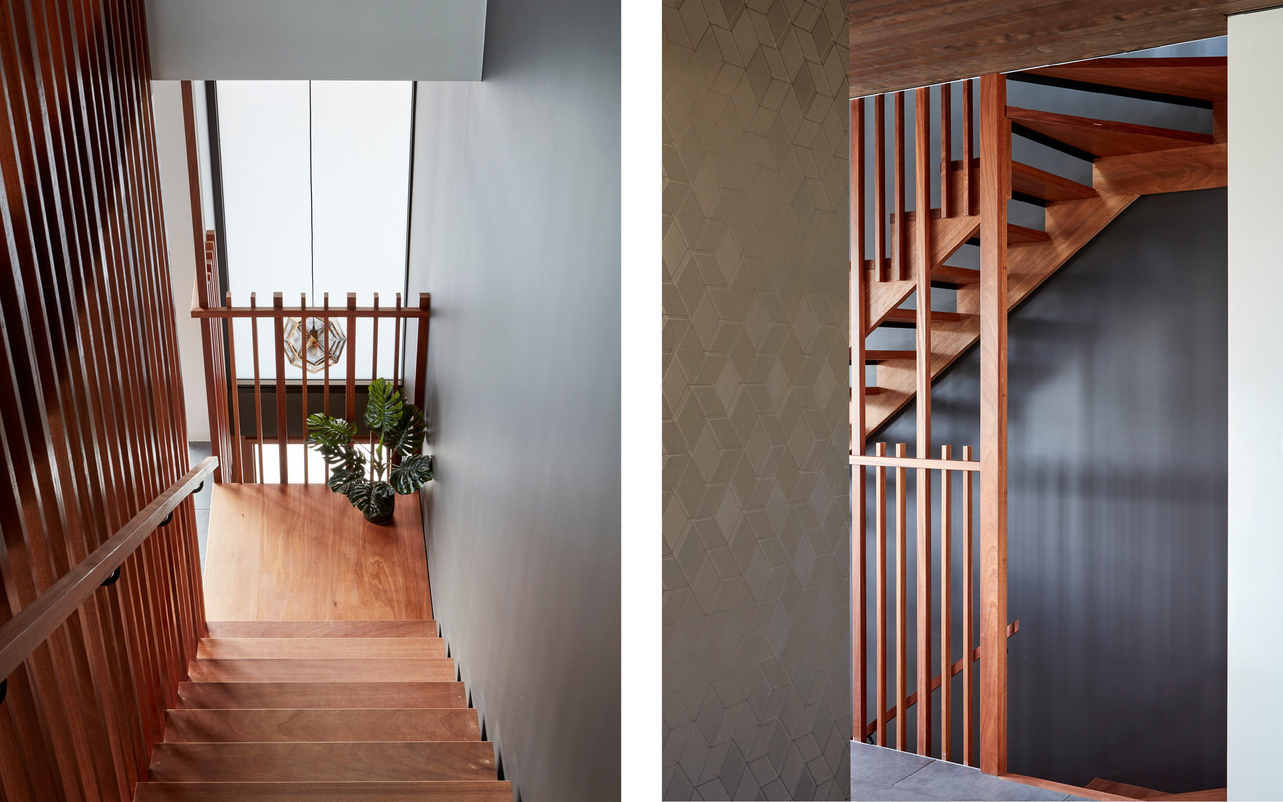 A beautiful timber staircase with a skylight creates different patterns of light of shade throughout the day.