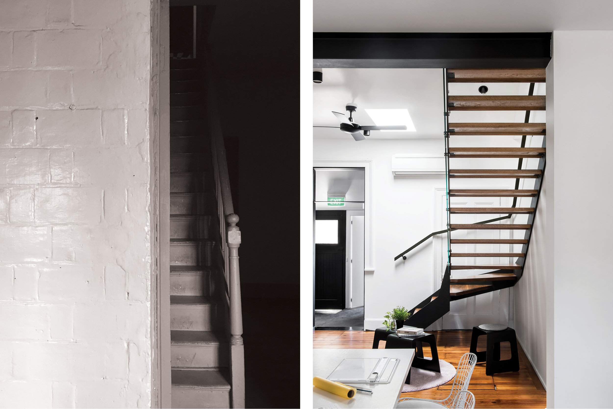 before and after image of the stairs