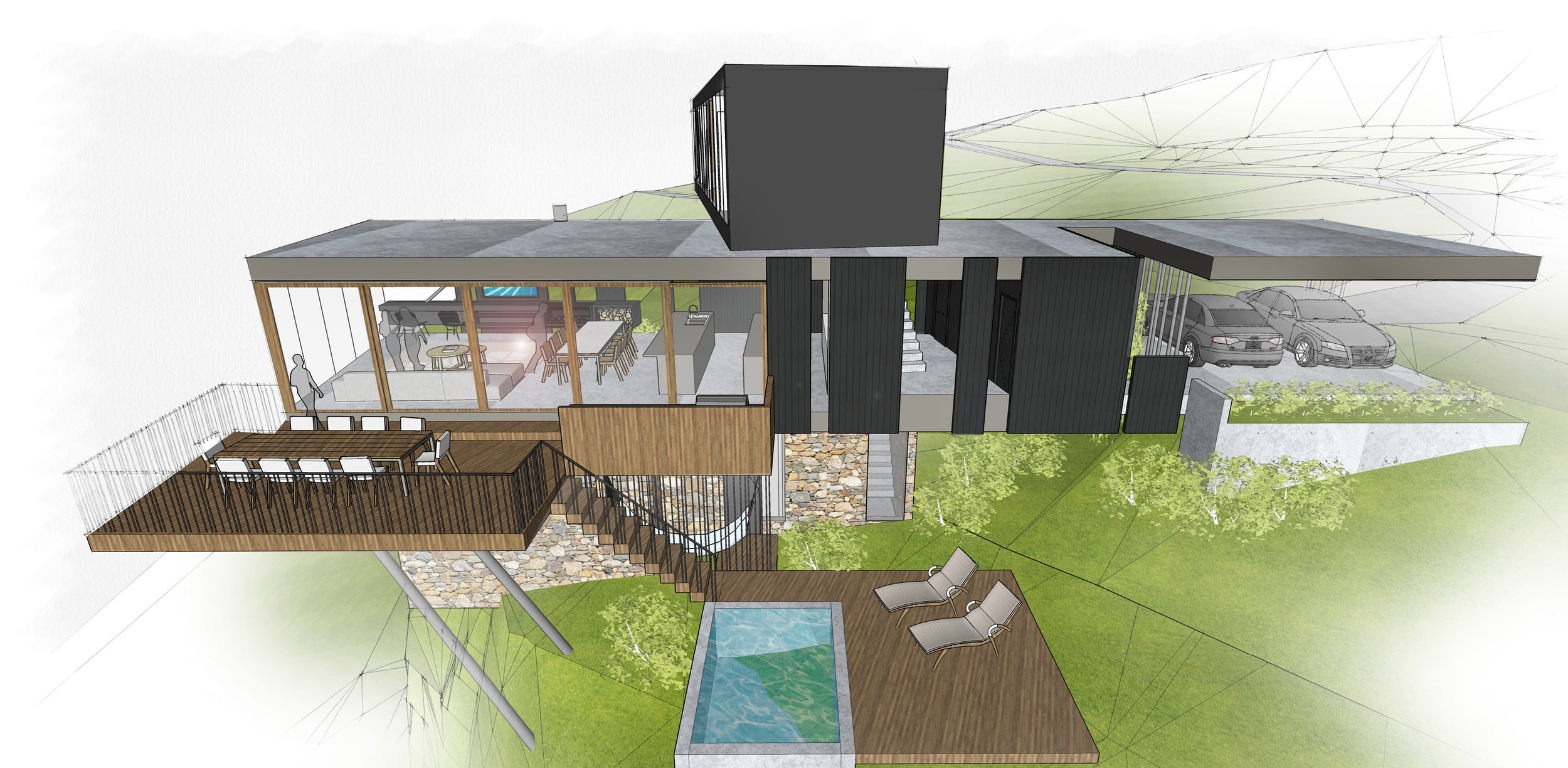 The cantilevered deck cascades down to the infinity pool area