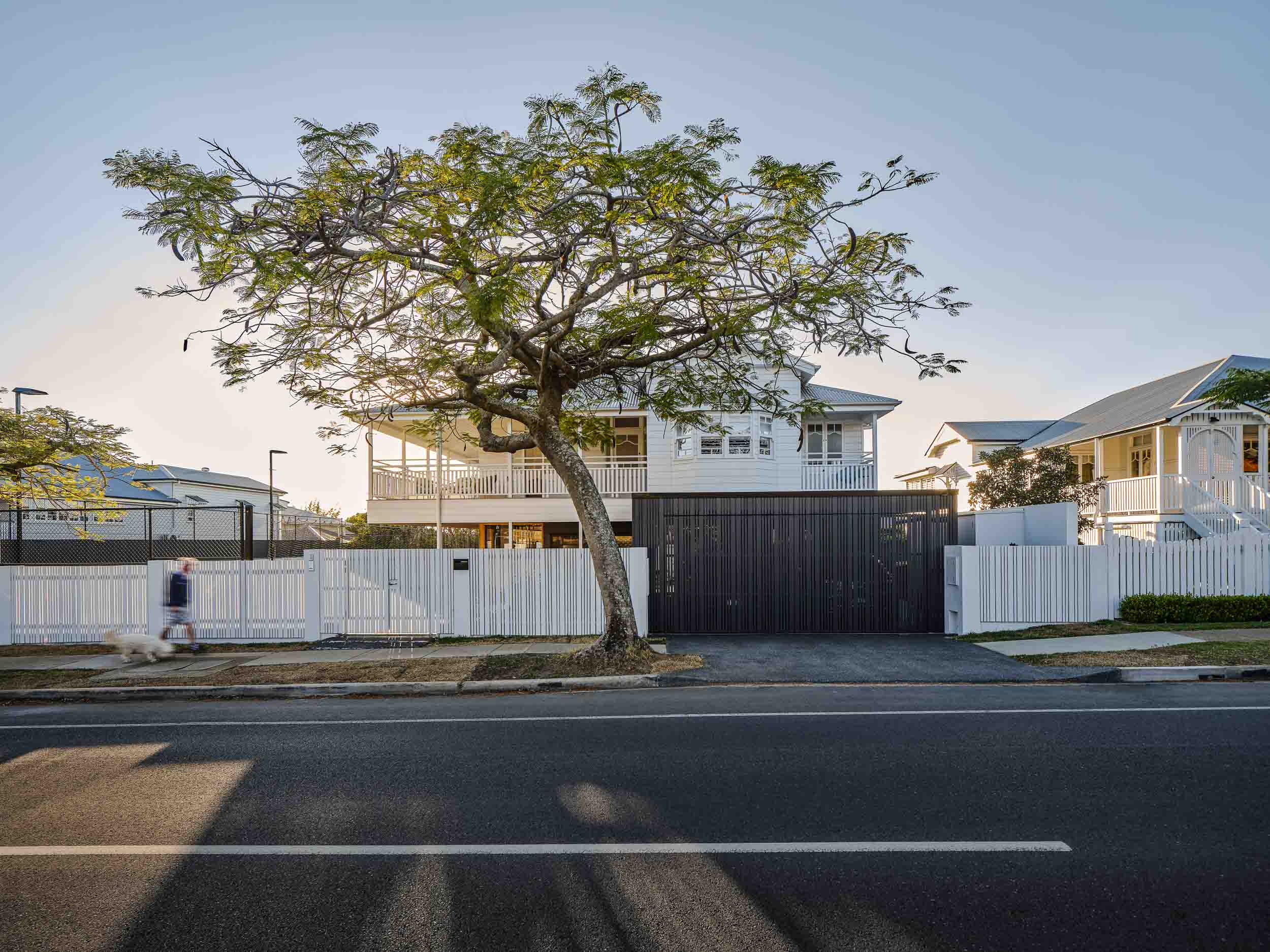 Street view of Ascot Residence - a sensitive renovation to a grand Queenslander in a prominent street