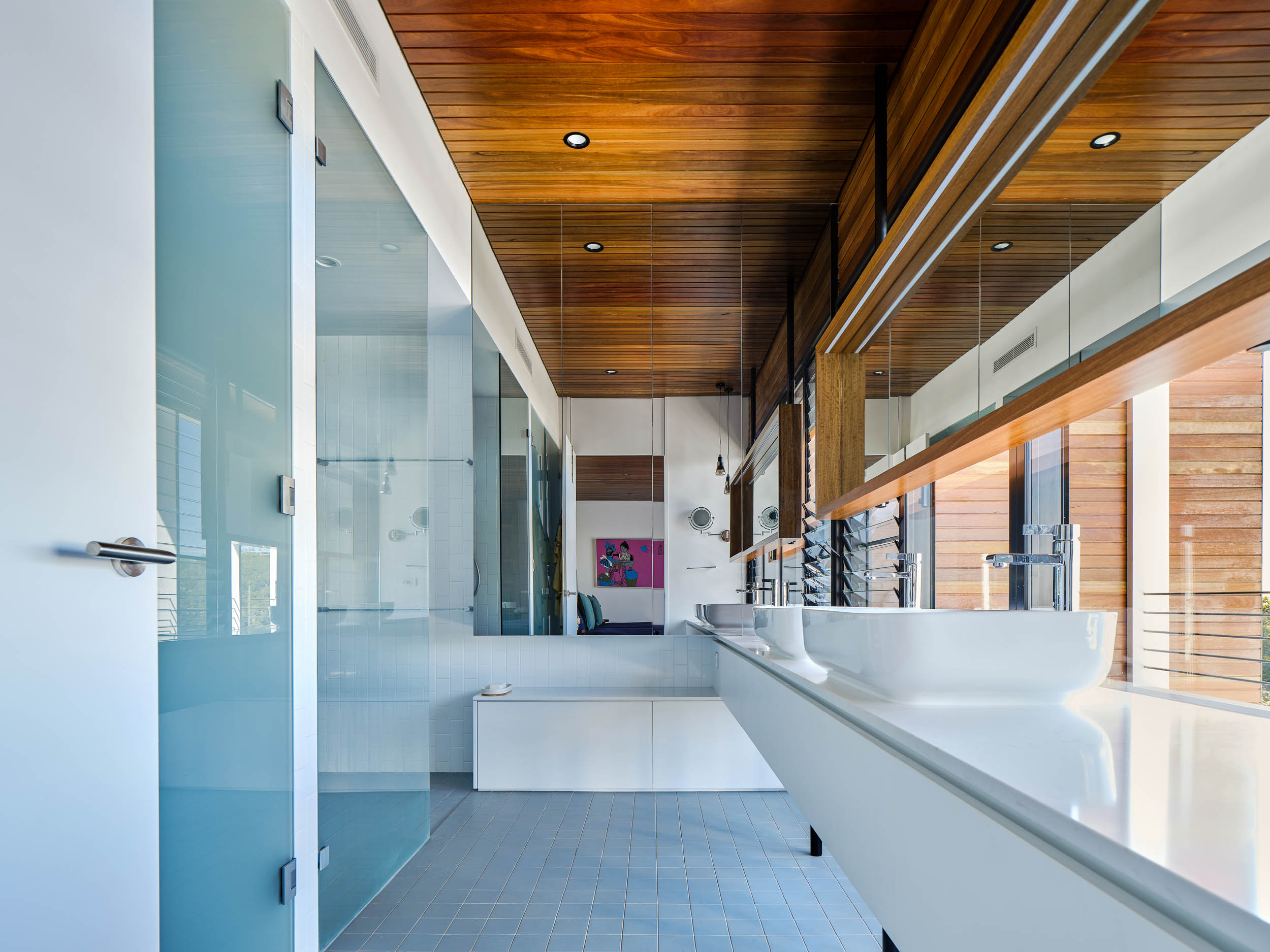 The light filled ensuite which harnesses beautiful views and the eastern morning sun
