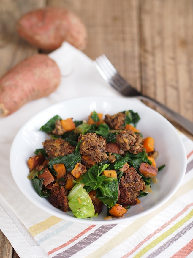 Vegan Sweet Potato, Sausage and Greens Hash