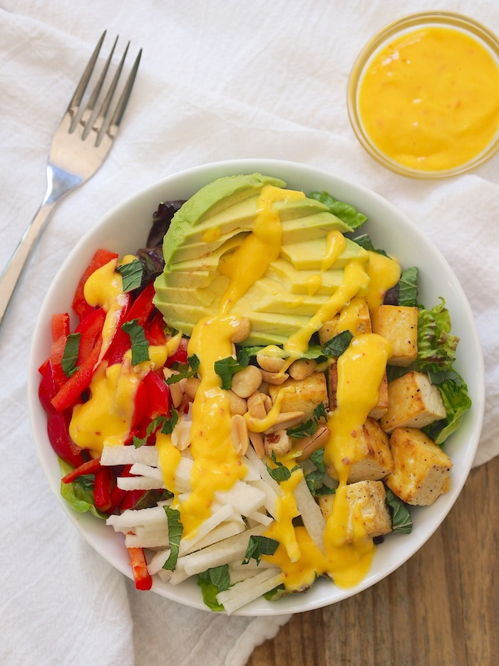 Tropical Salad with Spicy Mango Dressing
