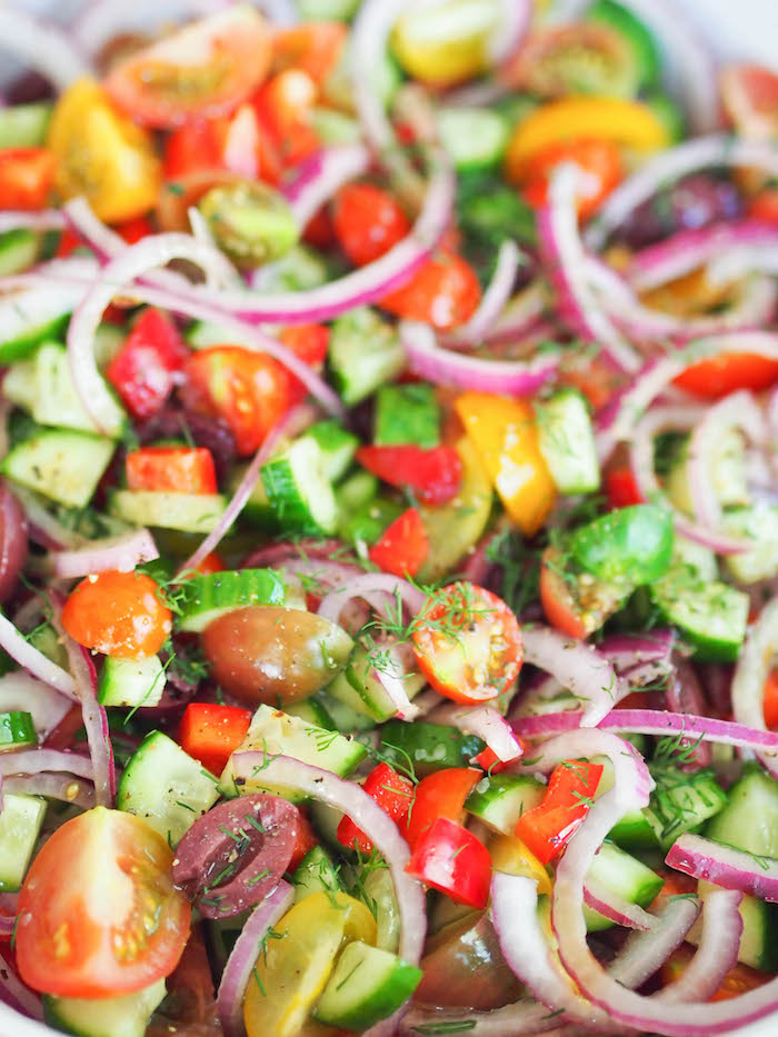 This chopped Greek salad is packed with veggies!