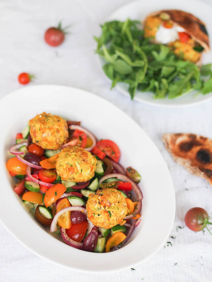Zucchini Chickpea Balls with Chopped Greek Salad - vegan and gluten free!