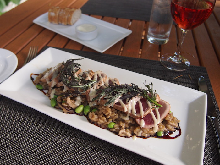 Seared ahi with shiitake and edamame risotto