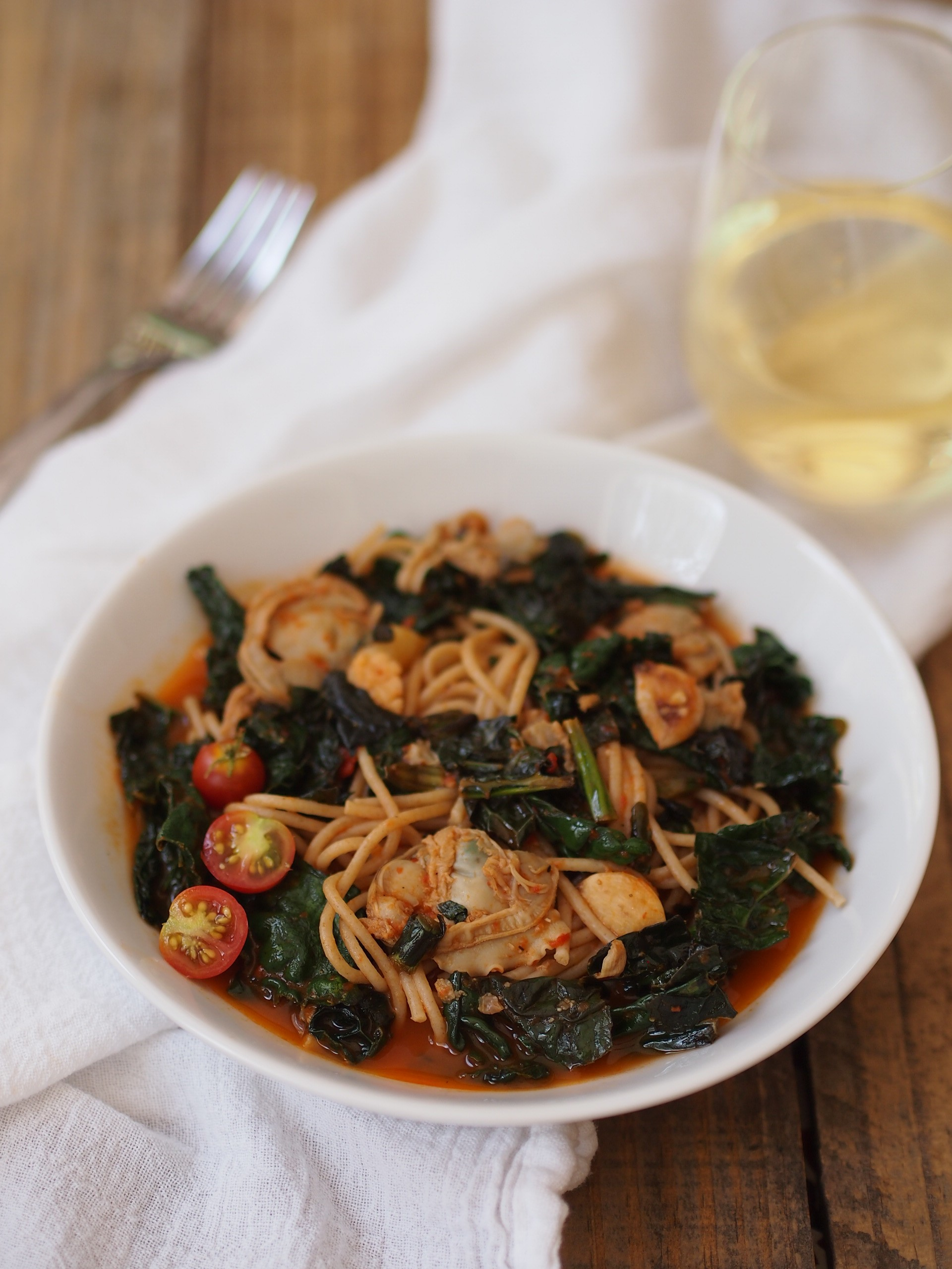 Spaghetti with Clam and Roasted Red Pepper Sauce and Braised Kale